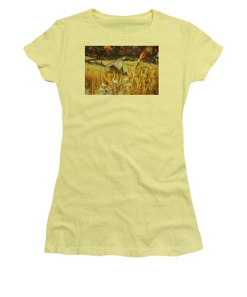 Women's T-Shirt (Junior Cut) featuring the digital art Bobwhite In Flight by Chris Flees