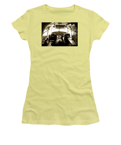 Women's T-Shirt (Junior Cut) featuring the photograph Boeing 747 Cockpit 21 by Micah May