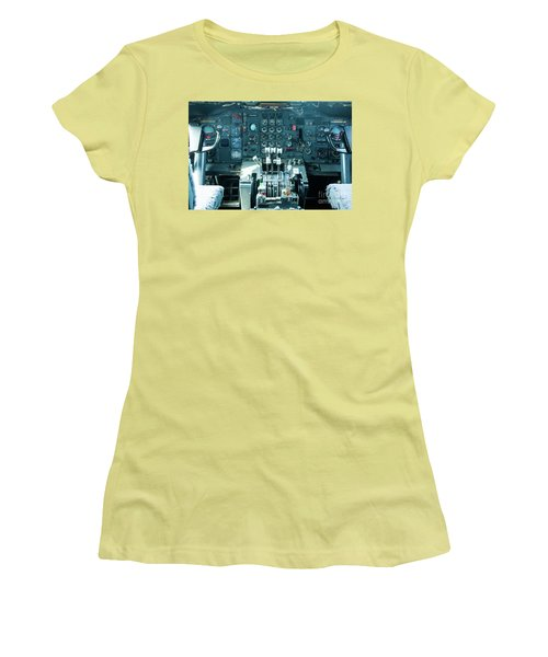Boeing 747 Cockpit 23 Women's T-Shirt (Junior Cut) by Micah May