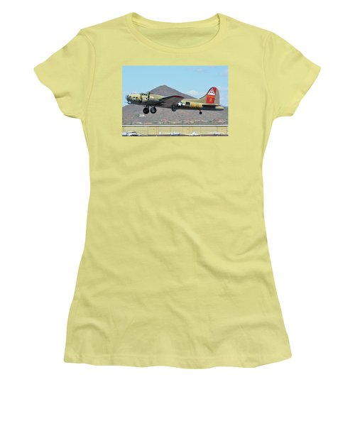 Women's T-Shirt (Junior Cut) featuring the photograph Boeing B-17g Flying Fortress N93012 Nine-o-nine Deer Valley Arizona April 13 2016 by Brian Lockett