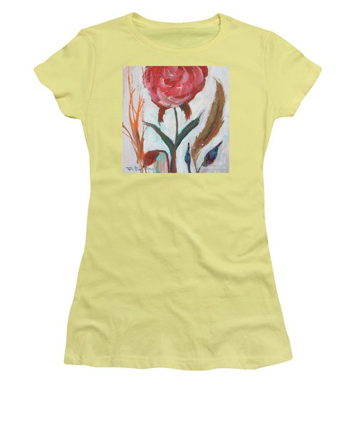 Women's T-Shirt (Athletic Fit) featuring the painting Bold Bright Beautiful Bloom by Robin Maria Pedrero
