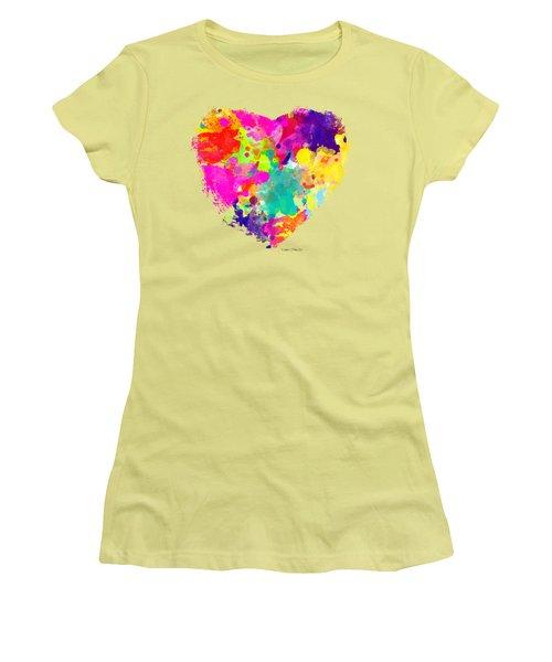 Bold Watercolor Heart - Tee Shirt Design Women's T-Shirt (Junior Cut) by Debbie Portwood
