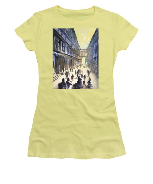 Women's T-Shirt (Junior Cut) featuring the painting Bologna Sunset- Italy by Ryan Fox