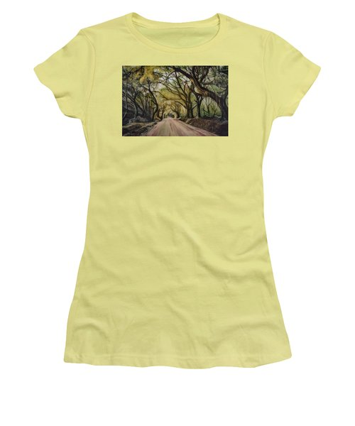 Women's T-Shirt (Junior Cut) featuring the painting Bombay Road by Ron Richard Baviello