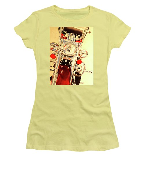 Women's T-Shirt (Junior Cut) featuring the painting Born To Be Wild by Cynthia Powell