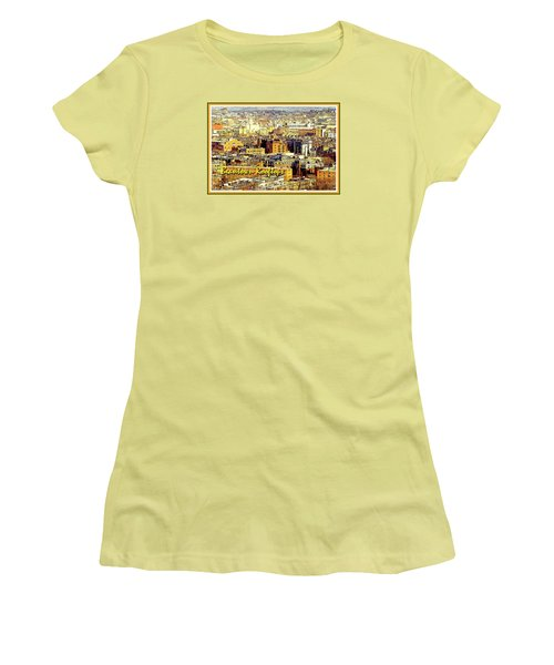 Women's T-Shirt (Junior Cut) featuring the digital art Boston Beantown Rooftops Digital Art by A Gurmankin