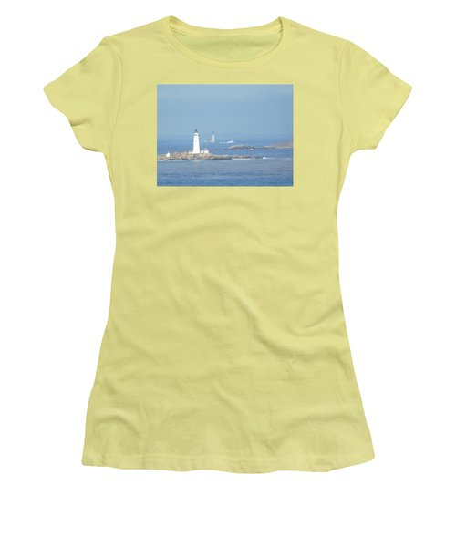 Boston Harbor Lighthouses Women's T-Shirt (Junior Cut) by Catherine Gagne