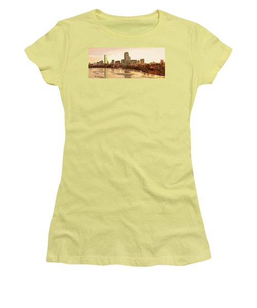 Boston Skyline On A December Morning Women's T-Shirt (Junior Cut) by Mitchell R Grosky