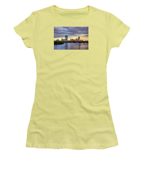 Boston Skyline Sunset Over Back Bay Women's T-Shirt (Junior Cut) by Joann Vitali