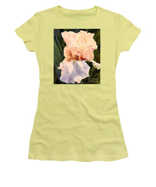 Women's T-Shirt (Junior Cut) featuring the painting  Botanical Peach Iris by Laurie Rohner