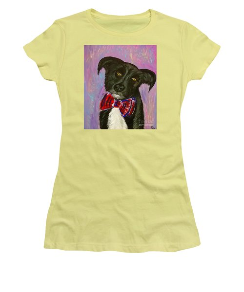 Women's T-Shirt (Junior Cut) featuring the painting Bow Tie Boy by Ania M Milo