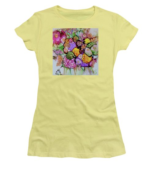 Women's T-Shirt (Junior Cut) featuring the painting Bouquet Of Blooms by Joanne Smoley