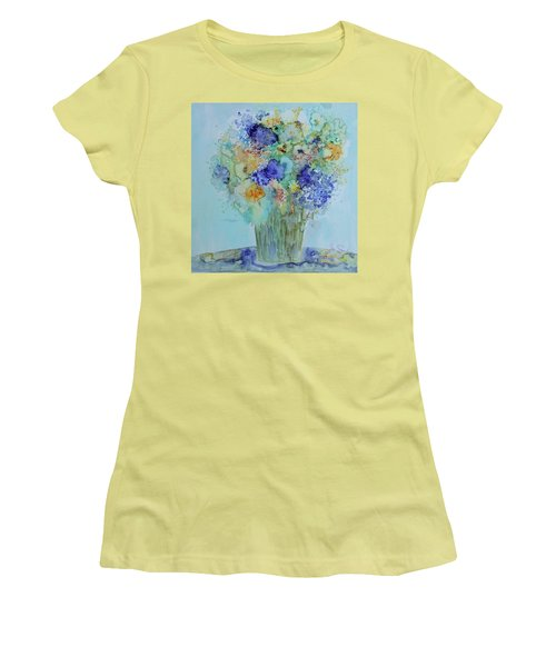 Women's T-Shirt (Junior Cut) featuring the painting Bouquet Of Blue And Gold by Joanne Smoley