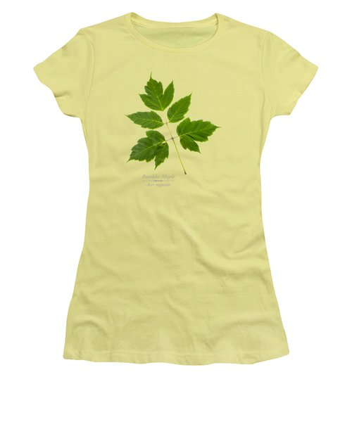 Women's T-Shirt (Junior Cut) featuring the mixed media Box Elder Maple by Christina Rollo
