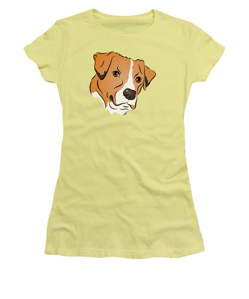 Women's T-Shirt (Junior Cut) featuring the digital art Boxer Mix Dog Graphic Portrait by MM Anderson