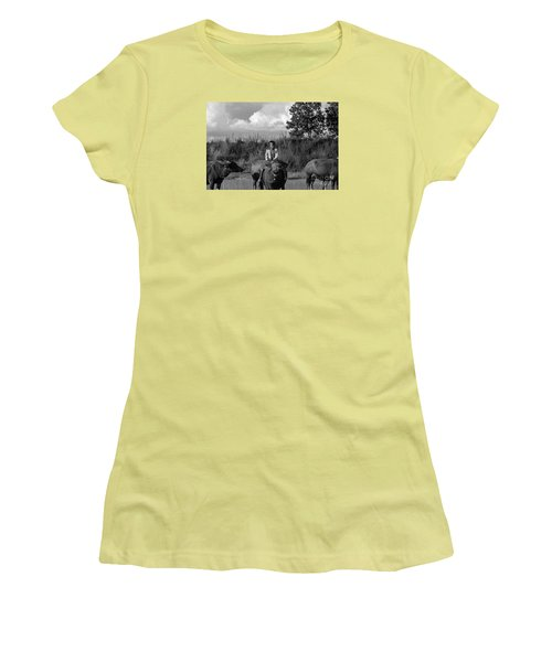 Women's T-Shirt (Junior Cut) featuring the photograph Boy And Cows by Arik S Mintorogo