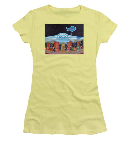 Women's T-Shirt (Junior Cut) featuring the painting Brad's Pismo Beach California by Katherine Young-Beck