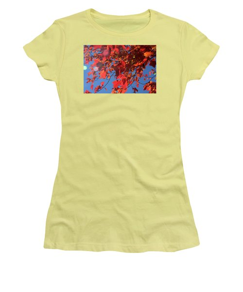Branches Of Red Maple Leaves On Clear Sky Background Women's T-Shirt (Athletic Fit)