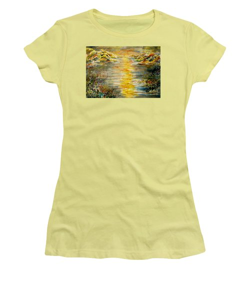 Women's T-Shirt (Junior Cut) featuring the painting New Horizons by Alfred Motzer
