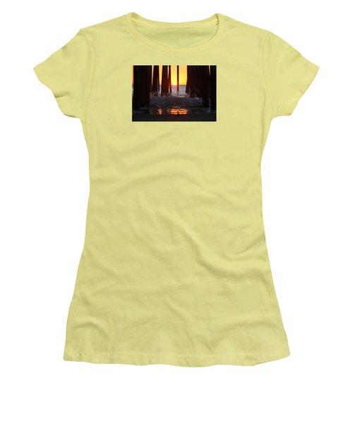 Breaking Dawn At The Pier Women's T-Shirt (Junior Cut) by Robert Banach