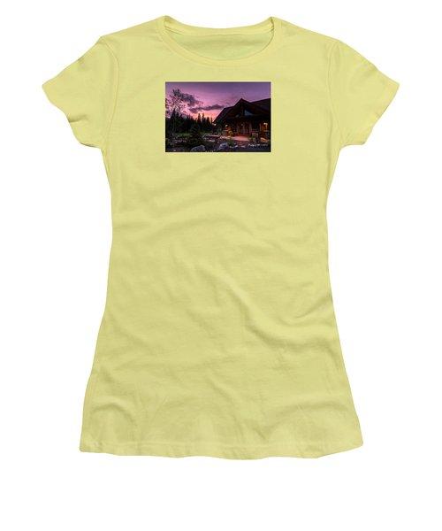 Breck Nordic Lodge Sunset Women's T-Shirt (Junior Cut) by Michael J Bauer