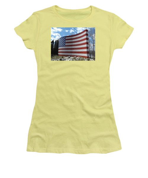 Brick American Flag Women's T-Shirt (Junior Cut) by Erick Schmidt
