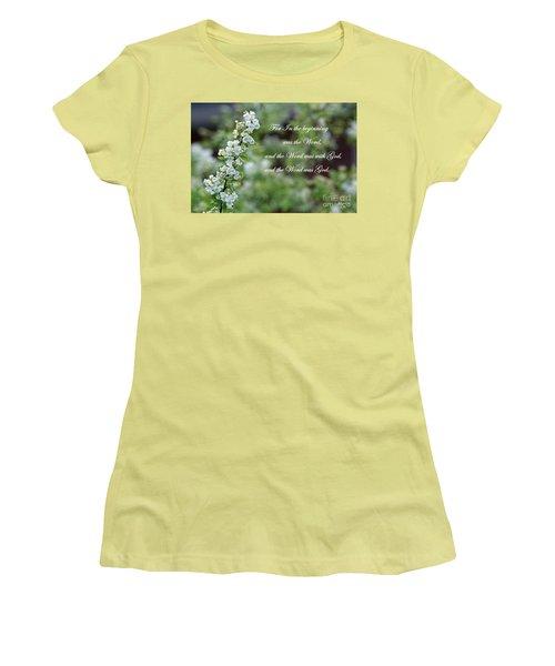 Bridal Wreath Christian Art Women's T-Shirt (Junior Cut) by Ella Kaye Dickey