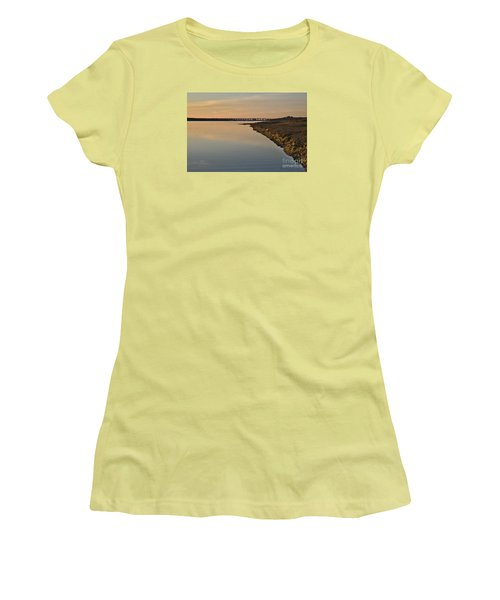 Bridge And Ria At Sunset In Quinta Do Lago Women's T-Shirt (Junior Cut) by Angelo DeVal