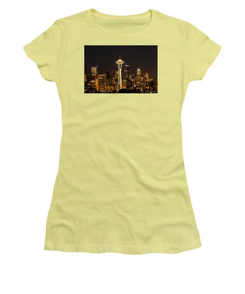 Women's T-Shirt (Junior Cut) featuring the photograph Bright At Night - Space Needle by E Faithe Lester