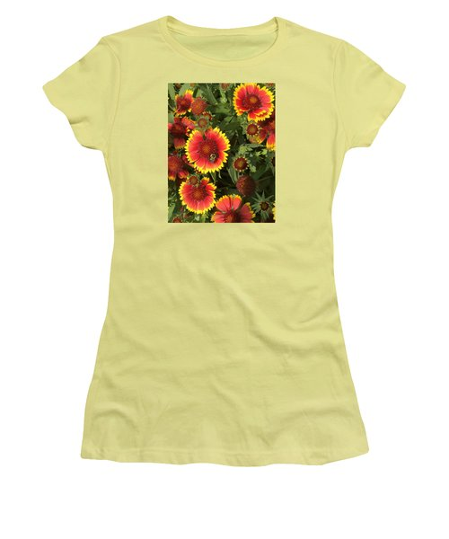 Bright Daisy-like Women's T-Shirt (Junior Cut) by Arlene Carmel