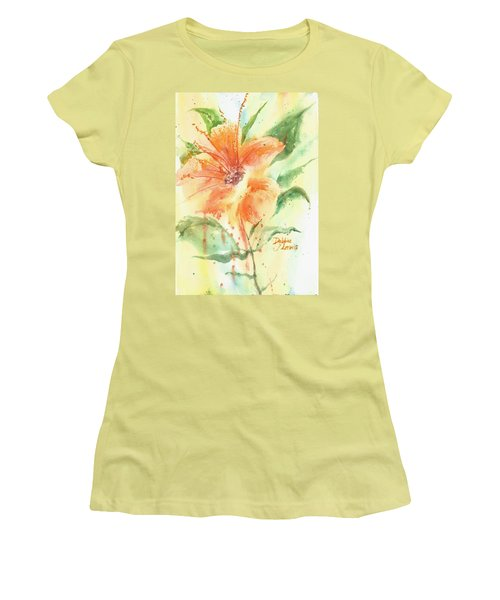 Bright Orange Flower Women's T-Shirt (Athletic Fit)