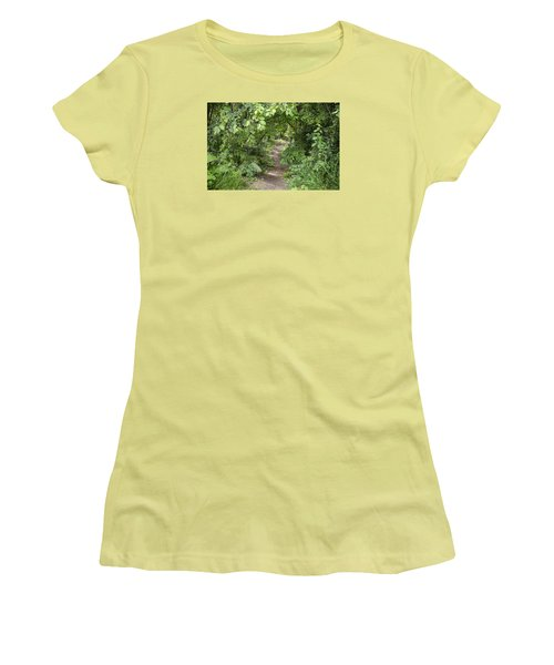 Bright Path In Leafy Forest Women's T-Shirt (Athletic Fit)