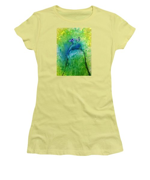 Bright Yellow Lime Peacock Women's T-Shirt (Athletic Fit)