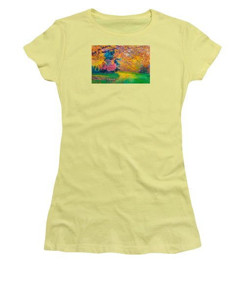 Brook Forest Garden At Fall Women's T-Shirt (Athletic Fit)