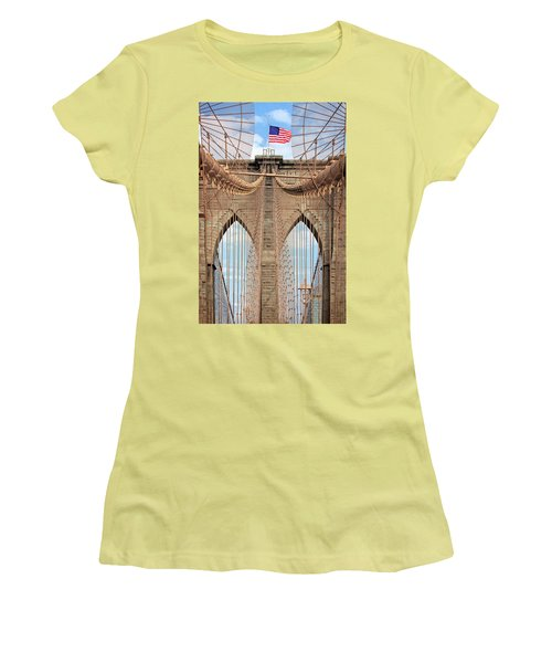 Women's T-Shirt (Junior Cut) featuring the photograph Brooklyn Bridge 2  by Emmanuel Panagiotakis