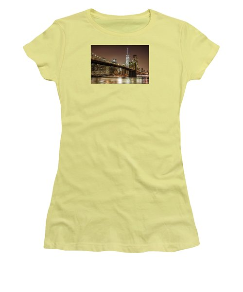 Brooklyn Bridge At Night Women's T-Shirt (Athletic Fit)