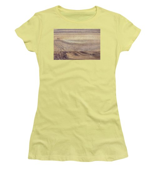 Women's T-Shirt (Junior Cut) featuring the photograph Brown Rubber Wooden Tray Handmade In Asia by Jingjits Photography