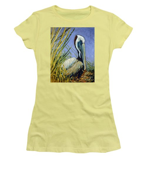 Women's T-Shirt (Junior Cut) featuring the painting Brownie Nesting by Suzanne McKee