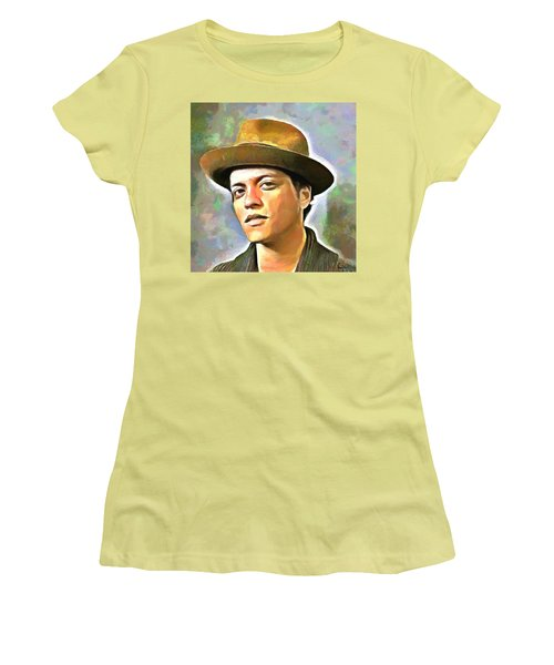 Bruno Mars Women's T-Shirt (Junior Cut) by Wayne Pascall