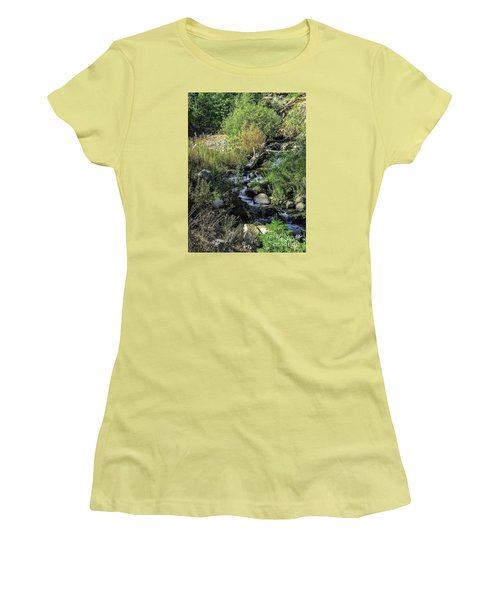 Women's T-Shirt (Junior Cut) featuring the photograph Bubbling Brook by Nancy Marie Ricketts