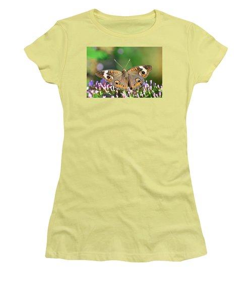 Buckeye Butterfly Women's T-Shirt (Junior Cut) by Kathy Eickenberg