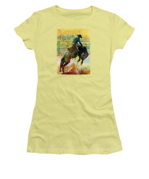 Women's T-Shirt (Junior Cut) featuring the painting Bucking Rhythm by Hailey E Herrera