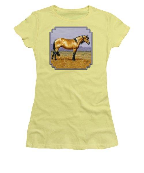 Buckskin Mustang Stallion Women's T-Shirt (Junior Cut) by Crista Forest