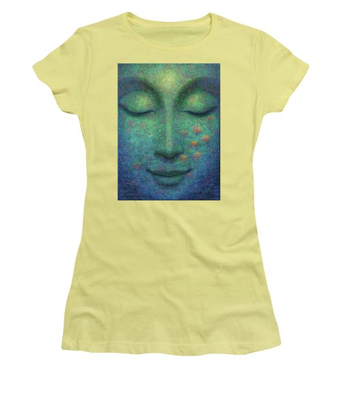 Women's T-Shirt (Junior Cut) featuring the painting Buddha Smile by Sue Halstenberg