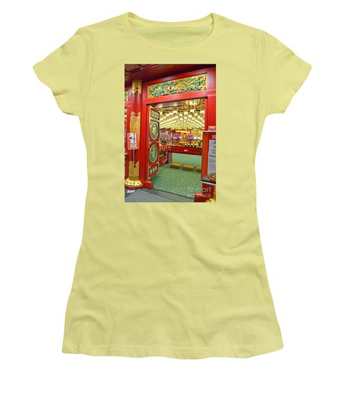 Women's T-Shirt (Junior Cut) featuring the digital art Buddha Tooth Relic Temple And Museum by Eva Kaufman
