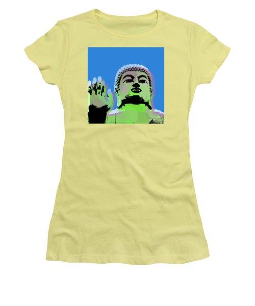 Women's T-Shirt (Junior Cut) featuring the digital art Buddha Warhol Style by Jean luc Comperat