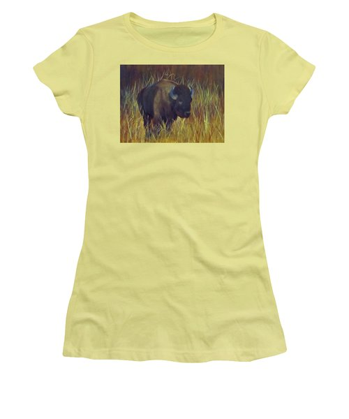 Buffalo Grazing Women's T-Shirt (Junior Cut) by Roseann Gilmore