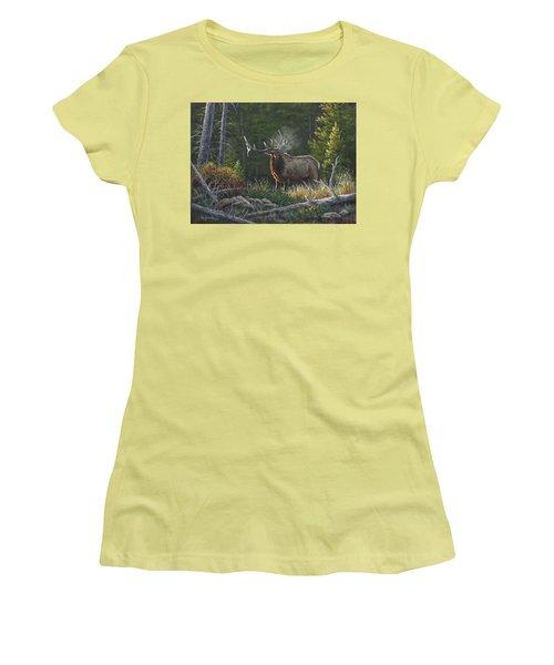 Women's T-Shirt (Junior Cut) featuring the painting Bugling Bull by Kim Lockman