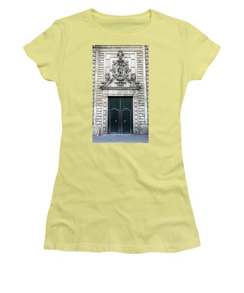 Building Artwork And Old Door In Barcelona Women's T-Shirt (Athletic Fit)