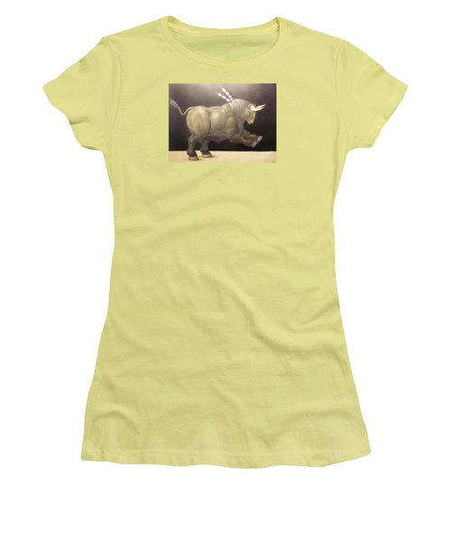 bull painting Botero Women's T-Shirt (Junior Cut) by Ted Pollard